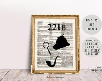 Sherlock, Sherlock Holmes, Sherlock Art, Sherlock Poster, Sherlock Decor, Book Print, Dictionary Page, Wall Art Print, Typography Art, 522