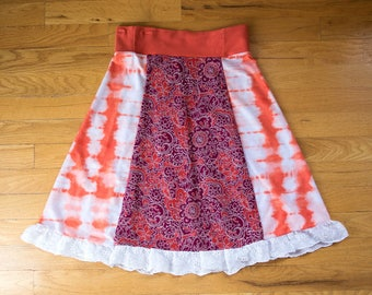 Small Women's Up-cycled Skirt with Tie Dye, Flower Pattern & Eyelet finish