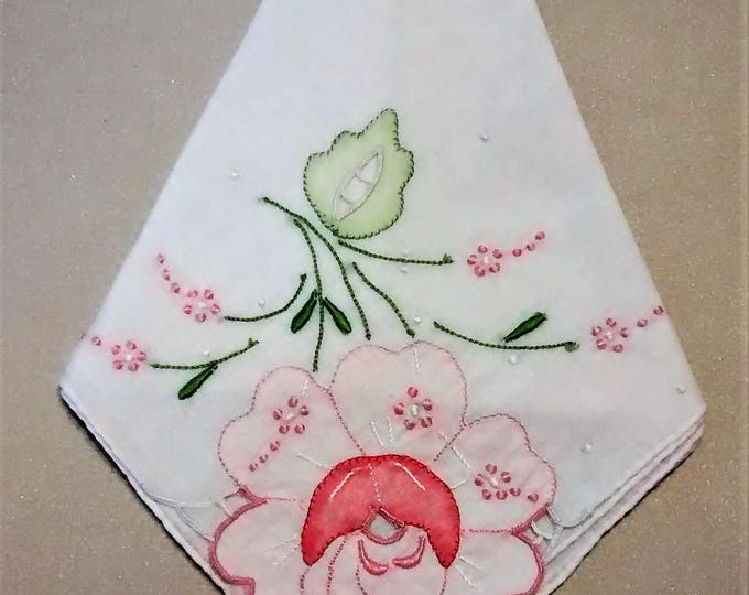 Featured listing image: L-105 Vintage Handkerchief with Gorgeous Pink Flower