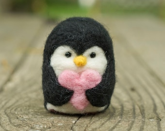 Needle Felted Penguin - Valentine Heart