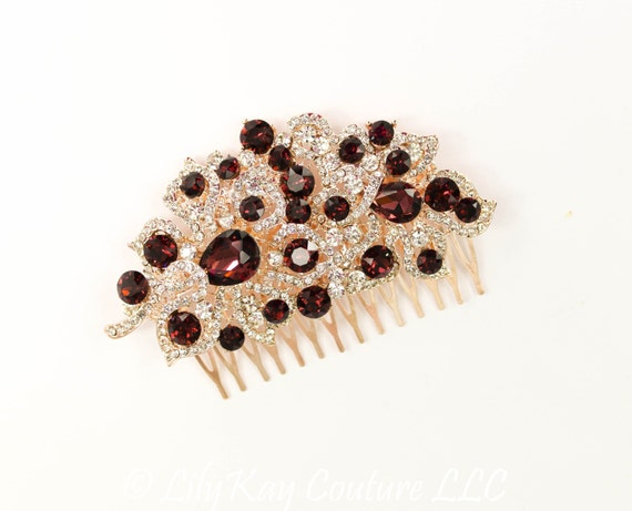 Marsala Bridal Comb Rose Gold Comb Wedding Hair Comb Burgundy