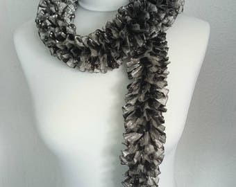 Ruffle Scarf, Black and Silver Scarf, Hand Knitted Scarf, Gift for Her, Sparkle Scarf, Summer Ruffle Scarf