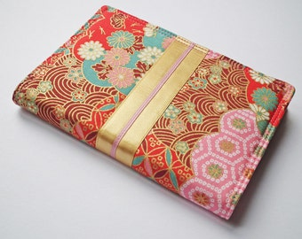 A6 'Kimono' Notebook Cover, Diary Cover, Planner Cover, Japanese Cotton Fabric, Pink, Gold, Red Floral, Fits Hobonichi A6 Planner, UK Seller