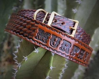 leather dog collar ( Western dog collar ~ tooled leather dog collar ~ personalized dog collar ~ 1950s name on belt collar )The Diamond Dogs