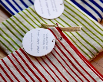 Red Stripes, Linen Zipper Pouch, Screen Printed Linen Bag
