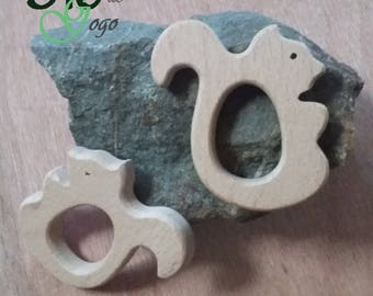 Natural shaped squirrel 1 wooden teething ring.