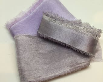 styling bundle hand-dyed silk ribbons, grey, pewter, lilac