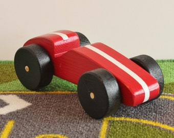 Toy Race Car - Toy Wooden Red Race Car - Handcrafted Wooden Toy Red Race Car with White Stripe and Black Wheels - Toy Race Car Red