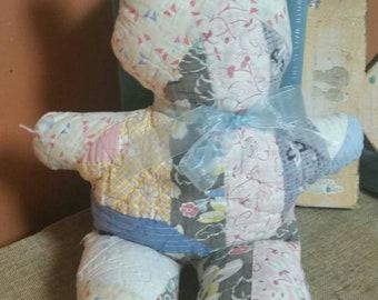 Quilt Teddy Bear/Handmade Primative Style Teddy/Appalachian Folk/Recycled Quilt Teddy Bear/Farmhouse Nursery/Baby Shower Decor/Childs Pillow