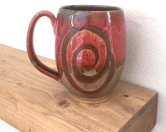 Extra large pottery mug, handmade mug, coffee mug, rustic, coral, pottery, handmade mug, coffee lover, gifts for her, huge, gigantic