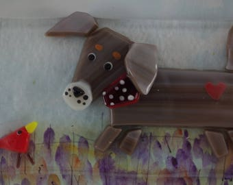 Wiener Dog and bird. Brindle dog, mutt. Dachshund.  Fused glass and watercolor mixed media shadow box