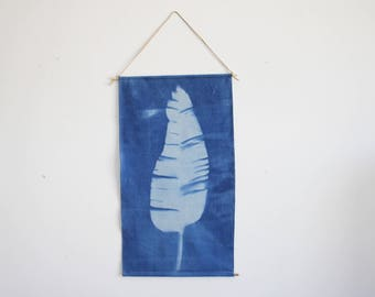 One of a Kind Hand Dyed Blue Tropical Palm Leaf Sun print Wall Hanging