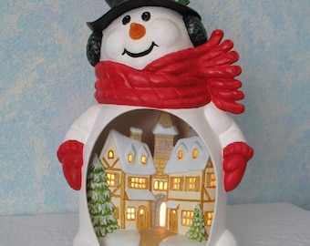 Ceramic Snowman with Village inside, Handpainted