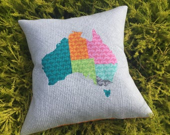 Australia Map Quilted Pillow Cover With Kangaroos