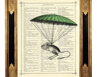 Mouse green Parachute Poster Print Nursery - Steampunk Vintage Victorian Book Page Art Print