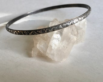 beautiful old patterned sterling bangle