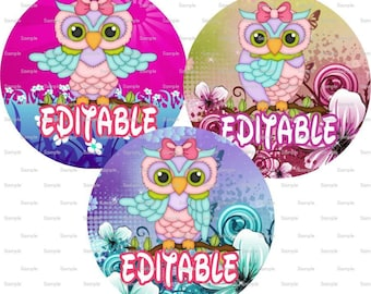 Girlish Owls Bottle Cap Images 4x6 Bottlecap Collage Scrapbooking Jewelry Hairbow Center