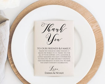 Wedding Thank You Card Printable, Editable Wedding Thank You Card Template, Wedding Table Thank You Card, Instant Download. WC3