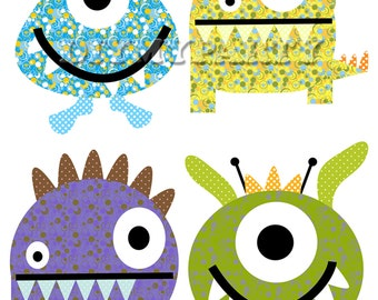DIY Printable Monsters clipart monsters clip art Monster Party decor Printable PDF File birthday decoration scrapbooking baby decor (490)