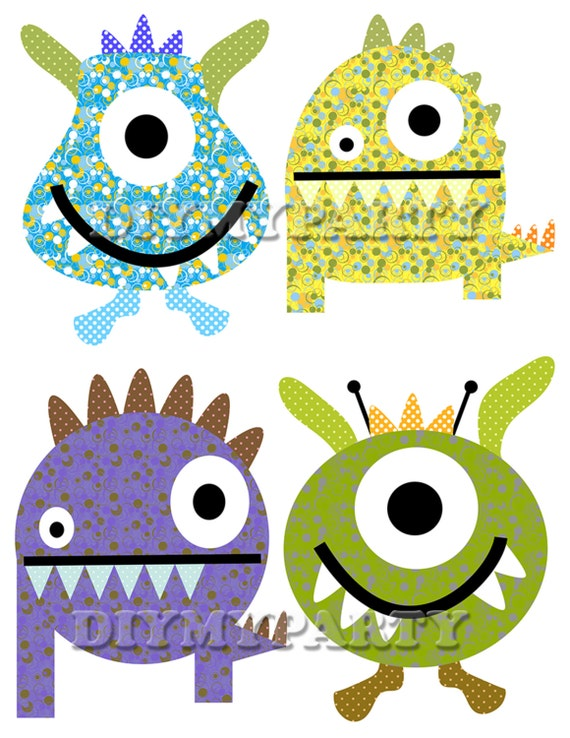 diy printable monsters clipart monsters clip art monster party rh etsy com clip art monster high cute clipart monsters