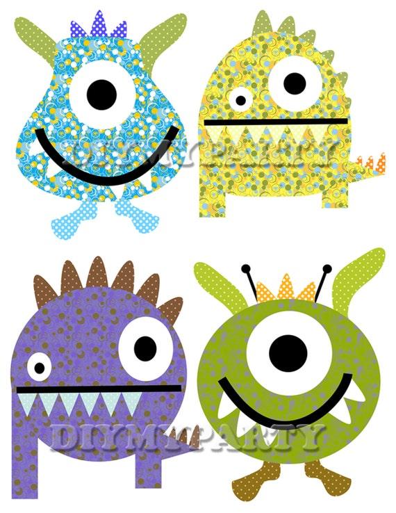 diy printable monsters clipart monsters clip art monster party rh etsy com cute clipart monsters clip art monster truck