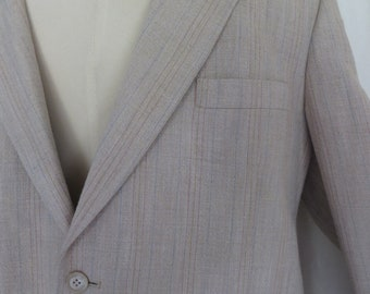 Vintage mens 70s suit jacket, blazer, sports jacket, sport coat, summer spring, beige blue stripe