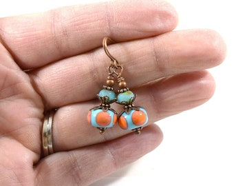 Turquoise and Orange Lampwork Earrings, Copper Earrings, Turquoise Earrings, Lampwork Earrings, Antique Copper Earrings,Boho Earrings, AE022