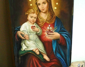 """Mary Mother of God catholic , hand-painted of hot colors directly on solid wood 18x24x2 см ( 7.0""""x 9.6""""x0.8"""" )"""