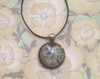Real White Queen Anne's Lace Flower Resin Necklace