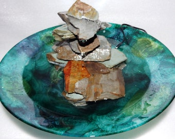 Table Top Fountain - Round Green Glass bowl And Smoky Mtn. Slate G-18-6.1