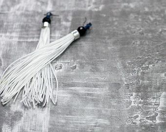 White Tassel Earrings, Boho Earrings, Fringe Earrings, Long Earrings, Statement Earrings, Gift Idea, Bohemian Jewelry