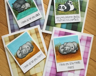 Mother's Day card / Father's Day card / parent card / cute animals