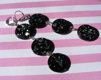 Black Spotted Shell earrings