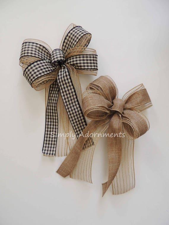 Primitive Black Check Christmas Tree Bow Natural Colored Mesh Burlap Bow Rustic black Check Door Hanger bow Rustic lodge Christmas Home Deco