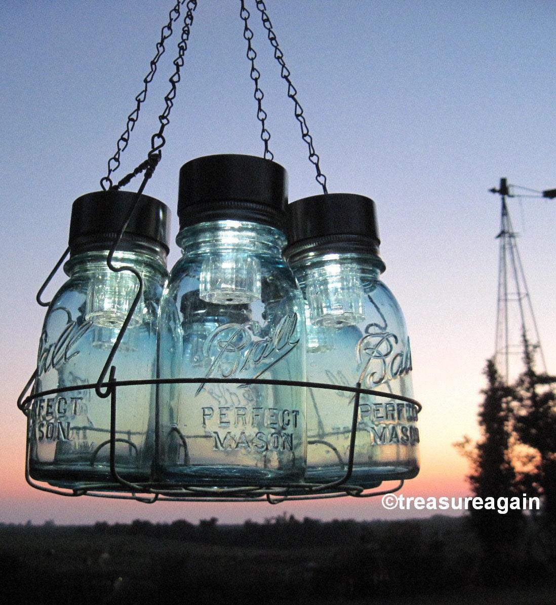 Solar mason jar chandelier mason jar hanging chandelier zoom arubaitofo Gallery