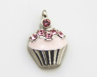 12 pcs of jello charm fit with hot pink rhinestone 12x15mm-1478