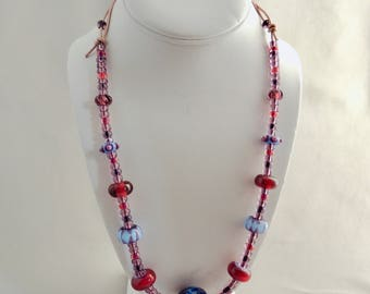 Artisan Made Glass Bead Necklace on Leather Cord