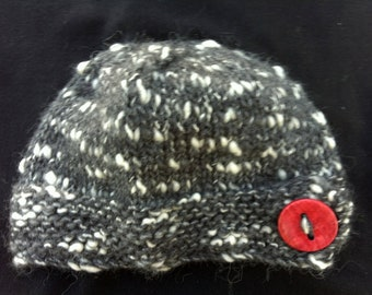 Charcoal Grey and White Teen/tween Girl's Wool Hat - Tobermory