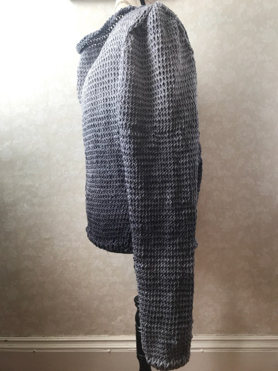 Super comfy open V back pullover hand knit sweater with cable accent on back in gray ombre