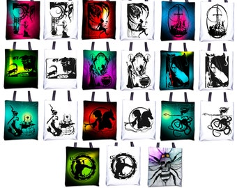 "Totes - Black and White or Color 15""x15"" - Featuring work from my original Fables & Fairy Tales hand cut paper art"