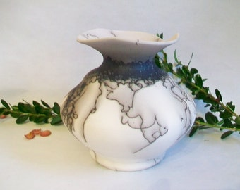 Horsehair  and a Feather  Burned onto Porcelain Vase - Black and White Vase - Handmade - Wheel thrown - Ready to Ship - Actual Vase