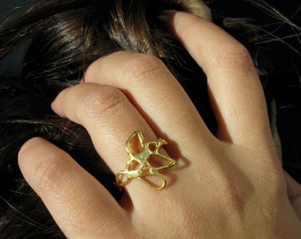 Gold-Plated Lace Ring