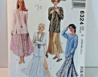 Vintage McCalls Easy pattern 6324, xs, small, medium sizes, skirts and tops, 1993 uncut, sewing pattern