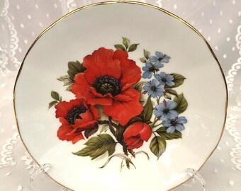 Elizabethan Flowers of the Seasons Orange Poppy Tea Cup Saucer. Vintage England