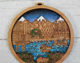 Vancouver Map Art, Vancouver illustration art, Vancouver mini city wall hanging by Rylee and Ink