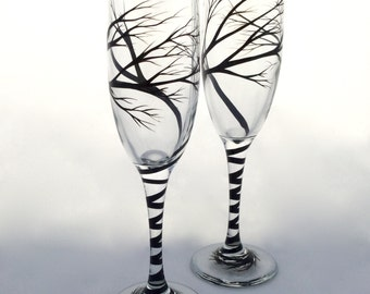 Tree Wedding Toasting Flutes with optional personalization