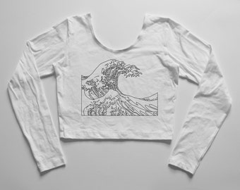 GREAT WAVE | White long sleeve crop top