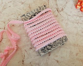 Baby Pink Pom Pom Trim, Indian Fabric Trim, Pink Pom Poms, Pom Pom Fringe
