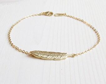 Feather Bracelet | Dainty Bracelet | Gold Everyday Bracelet | Layering Bracelet | Boho Jewelry | Gift for Her | Bridesmaid Gift