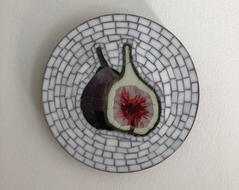 Cut figs on white - stained glass mosaic wall art